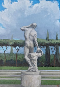 Pamela Talese painted just a few of the many marble statues around Foro Italico and will paint more. This painting and others in this section were exhibited at Robert Simon Fine Art in NYC, November-December 2018