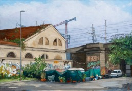 Tucked in the corner where the former abbatoir and the rail bridge meet is a settlement complete with camper and perimiter landscaping. Pamela Talese painted this scene over several days but never saw the inhabitants.