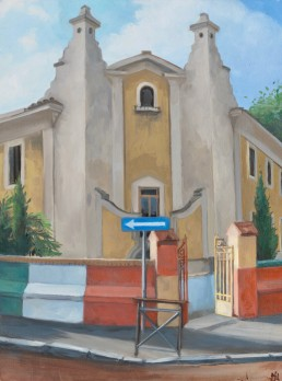"Pamela Talese painted a few buildings in Garbatella like this school that flaunted a ""barocchetto style"""