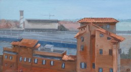 Pamela Talese painted thisview of Termiini Station from the roof top of a friends apartment
