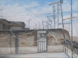 Pamela Talese went to the roof for another view of Termini Station but was taken by the textured walls and tangle of wire which brought to mind the work of the Welsh landscape painter Thomas Jones done while he was living in Naples from 1776-1783