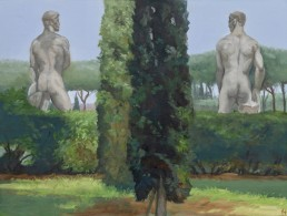 Pamela Talese painting another compellingly strange scene at Foro Italico
