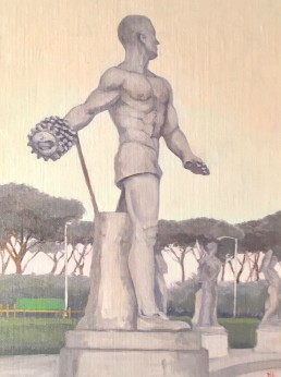 Pamela Talese painted this in the early morning during the heat wave that hit Rome at the end of June and into July in 2017. The temperatures, which were consistently in the mid-90's to the low 100's, made the shade around the Stadio dei Marmi more attractive than it had ever been before.