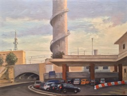 Termini Station and its two turbine stack are a favorite subject of Pamela Talese. This painting and 39 others were shown at Robert Simon Gallery, NYC, in late 2018. h