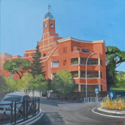 Pamela Talese painted three of the four 'temporary' hotels in Garbatella. The Red Hotel (1929) is the largest and is easily identified by the clock tower as by its bright red plaster.