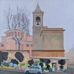 Pamela Talese painted this fascist era church (completed in 1933) embellished with 21st century graffiti.